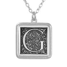 Vintage Illuminated Monogram Letter G Necklace - monogram gifts unique design style monogrammed diy cyo customize