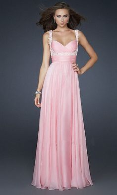 A-line Applique Embellishment On Sheer Straps Empire Pink Chiffon Floor Length La Femme Prom Dress LF-17542/ Gorgeous Evening Gown P288287