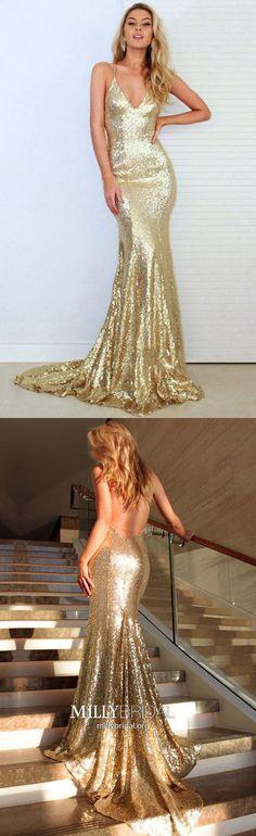 Gold Prom Dresses Long,2018 Formal Evening Dresses Modest,Sparkly Military Ball Dresses Mermaid,Elegant Wedding Party Dresses V-neck,Sexy Graduation Pageant Dresses Sequins #MillyBridal #promdress #sparklydress #golddresses