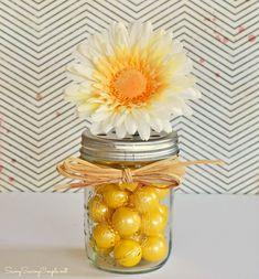 #DIY: Gumball Filled Mason Jar Flower Vase and  Mothers Day Gift Idea!! #mothersday #gifts #vases #masonjars