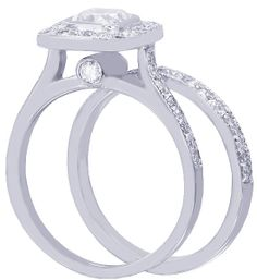 18k white gold cushion cut diamond engagement ring and by KNRINC, $4280.00