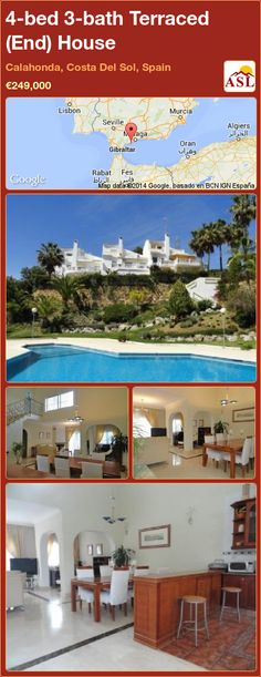 Terraced (End) House for Sale in Calahonda, Costa Del Sol, Spain with 4 bedrooms, 3 bathrooms - A Spanish Life Kitchen Styling, Ground Floor, Townhouse, My House, Terrace, Swimming Pools, Spain, Bath, Mansions