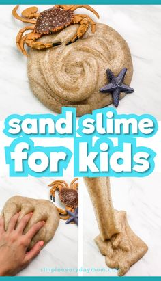 This easy sand slime is a fun indoor activity for kids at home. Whether it's a rainy day, winter or it's too hot out, this simple sensory fun is engaging for boys and girls! Learn how to make this slime with our step by step tutorial and mesmerizing slime video! #simpeleverydaymom #sandslime #indooractivitiesforkids #indooractivities #summercrafts #classroom #athomeactivities #boysactivities #rainydays #rainydayfun #stem #steam #summeractivities #kids #ideasforkids #kidsandparenting