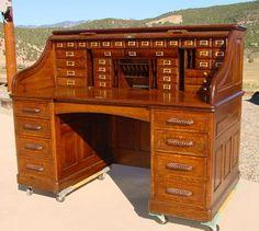 """1890's Large Quarter Sawn Oak Paneled """"S"""" Roll Top Desk ..."""