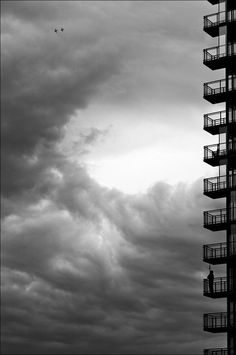 - stair, sky, photo framing, plane, balconies, flat, white, black, photographi