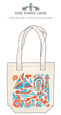 Love this tote bag design by Carolyn Vibbert? Cast your vote by re-pinning it! For more information our Blank Canvas Challenge visit www.onekingslane.com/designchallenge