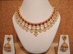 Light Weight Pearl Choker Necklace Designs, Light Weight Gold Pearl Necklace Designs