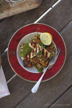 Veg & Barley Salad w/ Orange, Honey and Thyme Dressing, topped with Fried Halloumi - Genius!