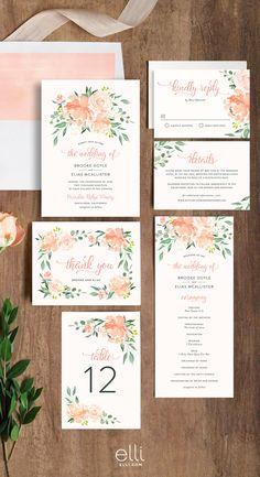 Gorgeous Romantic Floral Wedding Invitation suite. Customize the colors to coordinate with your big day.