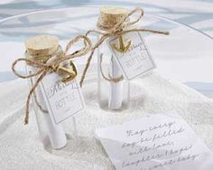 """""""Message In A Bottle"""" Glass Favor Bottle (Set Of at Elegant Gift Gallery. We're your number one source for beach wedding favors and bridal shower favors. Kate Aspen favors at discount prices! Beach Wedding Favors, Wedding Favors Cheap, Nautical Wedding, Bridal Shower Favors, Wedding Invitations, Wedding Ideas, Wedding Venues, Summer Wedding, Wedding Decorations"""