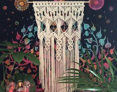 Grande Macrame pared colgante tapiz tejido por MacrameElegance