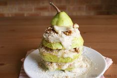 Pear, walnut and frozen bananas. Healthy and yummy!