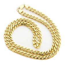14k Solid Yellow Gold 6.5 mm thick Heavy Miami Cuban Link Chain Necklace – 22″ 24″ 30″