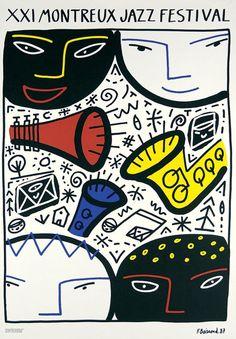 Poster by  Francois Boisrond (b. 1959), 1987, 21e Jazz Festival Montreux.