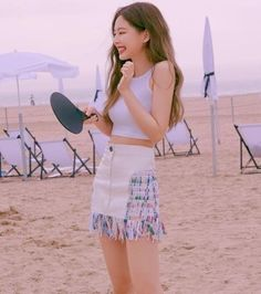 Jennie in California Blackpink Outfits, Kpop Fashion Outfits, Summer Outfits, Cropped Tank Top, Crop Tank, Adriana Lima Lingerie, Blackpink Fashion, Fashion Trends, Trending Fashion