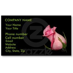 Pink Rosebud (Tilted) Business Cards by birdersue from Zazzle - Digital photography and design by Sue Melvin