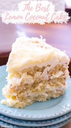 This Lemon Coconut Cake recipe with cream cheese frosting is the best lemon cake recipe! Classic coconut cake is filled with homemade lemon curd and lemon cream cheese frosting. Coconut lemon cake from scratch makes the best Easter dessert recipe! Best Lemon Cake Recipe, Vegan Lemon Cake, Lemon And Coconut Cake, Lemon Dessert Recipes, Best Cake Recipes, Easter Recipes, Easter Desserts, Holiday Desserts, Healthy Recipes