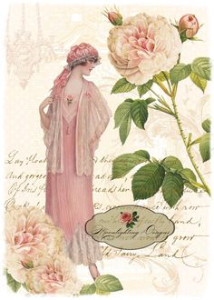 Lady in Pink Digital Download Printable 140-li. $5.00, via Etsy.