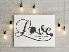 Spice up your walls with our premium vinyl decal wall art.  The look of freshly painted words without the mess, time⌚or effort of painting.  We have a wide variety of colors to choose from. Decal Life Studio  State of Alaska Love Wall Decal,  wedding, family names