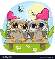 Illustration about Valentine card with Cute Cartoon Owls on a bench. Illustration of drawing, childbirth, cartoons - 111491661