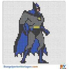 Batman Bügelperlen Vorlage. Auf buegelperlenvorlagen.com kannst du eine große Auswahl an Bügelperlen Vorlagen in PDF Format kostenlos herunterladen und ausdrucken.