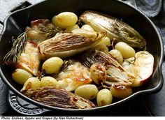 Try this endives, apples, and grapes recipe made with rosemary. Get this entree recipe at PBS Food. Endive Recipes, Grape Recipes, Apple Recipes, Gourmet Recipes, Low Carb Recipes, Vegetarian Recipes, Healthy Recipes, Healthy Foods, Vegetable Prep