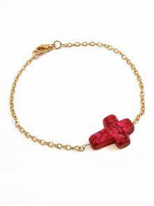 Rock 'N Rose NEELA Variscite Stone Cross Bracelet