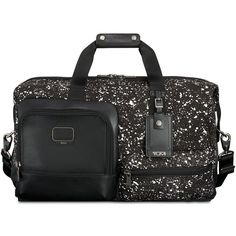 Tumi Alpha Bravo Grissom Travel Satchel ($445) ❤ liked on Polyvore featuring bags, luggage and galaxy print