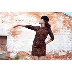 Brown mini dress, black shift, fall autumn floral copper sequins M L... ($34) ❤ liked on Polyvore featuring dresses, sequin dresses, floral print dress, floral mini dress, short-sleeve shift dresses and shift dress