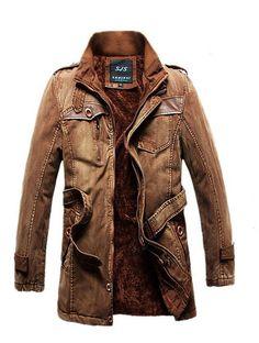 Denim Fleece Casual Men's Military Winter Wind Outwear Over Coat-Brown