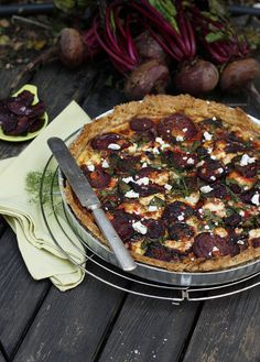 Beetroot & Feta Tarte with Balsamic Onions. By roasting the sliced beets first, this is a very nutty, sweet, caramelised tart!