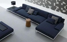 Park sofa by Carlo Colombo - the left side can be left empty as a decor table or add a high cushion to fill the space Home Decor Furniture, Sofa Furniture, Living Room Furniture, Living Room Decor, Furniture Design, Living Room Sofa Design, Living Room Designs, Poliform Sofa, Muebles Living