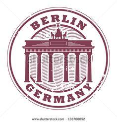 ختم مطاطي الجرونج مع الكلمات برلين، ألمانيا الداخل، التوضيح ناقلات