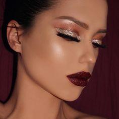 "Amadea makeup on Instagram: ""Glitter eyes ⭐️ New year Look ✨⭐️ #amadea_dashurie @anastasiabeverlyhills Self Made palette (treasure, sherbert, hot Chocolate, hot&cold) and ✨New eyeshadows✨ : Lace, Intense gaze and Party dress #abhshadows #anastasiabeverlyhills #selfmadepalette Starlight #abhglow @vegas_nay Lashes Grand glamor #vegas_nay #vegasnaylashes ❤️ @gerardcosmetics Lipstick Cherry Cordial #gerardcosmetics  @sigmabeauty Brushes and Aura Powder the Sadle #sigmabeauty #sigmabrush"