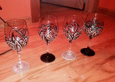 Etsy Hand Painted Wine Glasses Design. SaraRodgersArtWork  Sara Rodgers Artwork