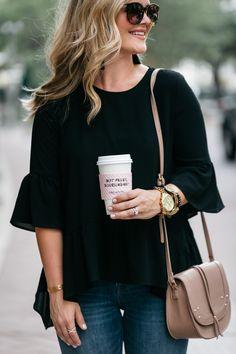 Cristin Cooper, The Southern Style Guide, Carolina Lifestyle Blog, Black Ruffle Top