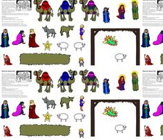 Nativity story figures have been colored with the iconographic color ...