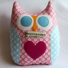 Personalized Owl Tooth Fairy Pillow Peachy Pink and Aqua