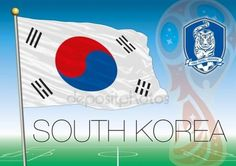 South Korea flag, Russia 2018 World Cup football