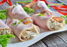 Sałatka pieczarkowa w szynce Fresh Rolls, Grilling, Snacks, Ethnic Recipes, Curry, Impreza, Food, Birthday, Appetizers