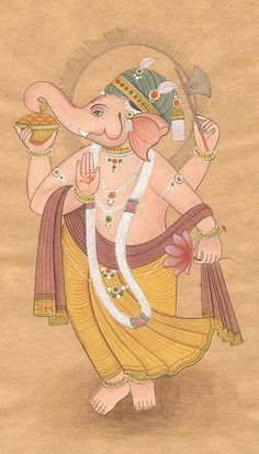 Dancing Ganesha, Hindu Water Color On Old Paper Ganesha Sketch, Ganesha Drawing, Lord Ganesha Paintings, Ganesha Art, Krishna Art, Indian Traditional Paintings, Modern Indian Art, Indian Folk Art, Indian Artwork
