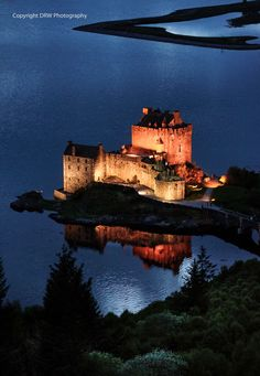 Eilean Donan Castle ~ Scotland, by night.