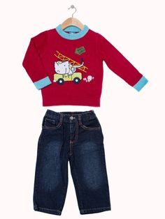 'Fire Dept.' Sweater and Jeans - Infant and Toddler. Available in red and navy. Only $29.99