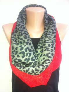 Black grey leopard Infinity Scarf  Women's Scarves by ScarfAngel, $21.00