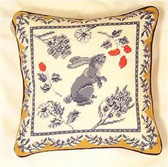 Provence Hopping Bunny Needlepoint Pillow, 14 inch square