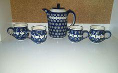 Boleslawiec Polish Pottery Peacock CHOCOLATE SET CUPS TEA POT 5 PIECES #Boleslawiec