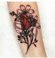 geometric and flower tattoo #tattoo