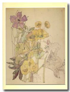 Charles Rennie Mackintosh - Spurge and Periwinkle - Withyham - June 1909 Charles Rennie Mackintosh, Art And Illustration, Flower Prints, Flower Art, Illustration Botanique, Glasgow School Of Art, Vintage Fairies, Arts And Crafts Movement, Antique Prints