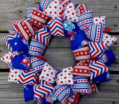 stars and stripes decor   Give a Hoot Patriotic Stars and Stripes Homemade Fabric Wreath