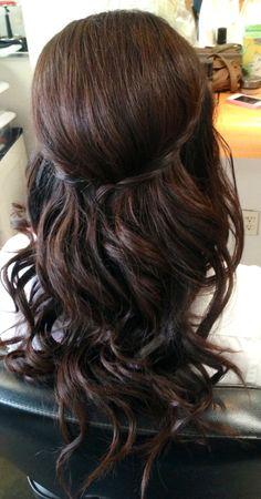 Wedding updo, wedding hair, bridal hair, curls, half up half down, half updo, braids, asian bridal hair